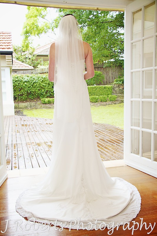 back of bride in bridal gown - wedding photography sydney