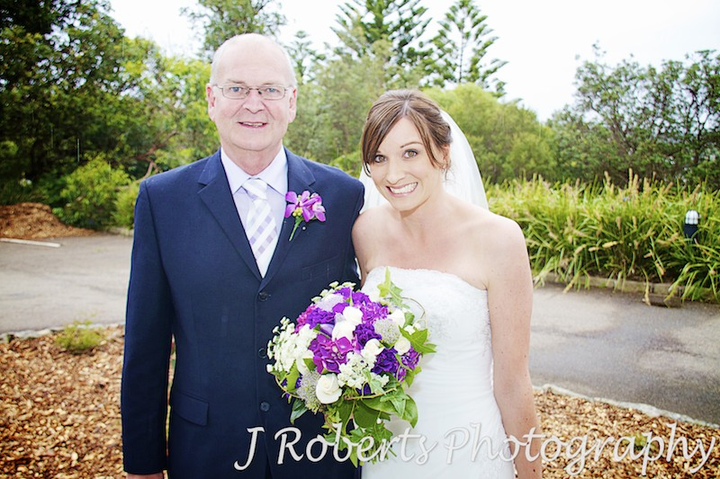 bride arrives at ceremony with her father - wedding photography sydney