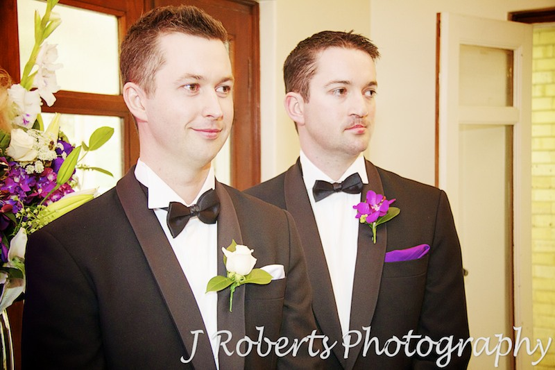 groom and best man wait for arrival of bride - wedding photography sydney