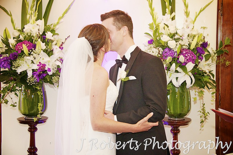 bride and groom - first kiss - wedding photography sydney