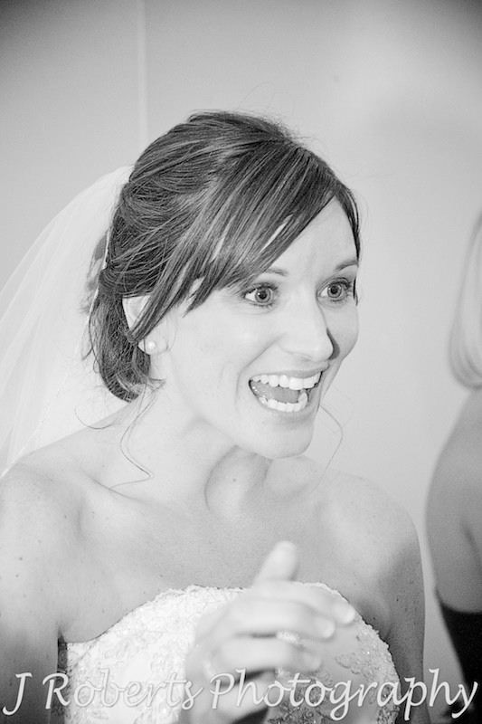 very excited bride to be married - wedding photography sydney