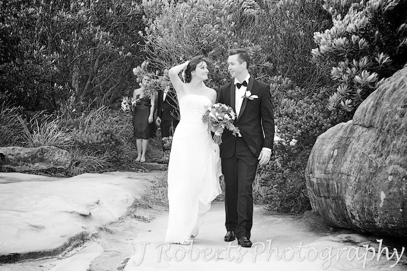 bride and groom walking at Watsons bay - wedding photography sydney