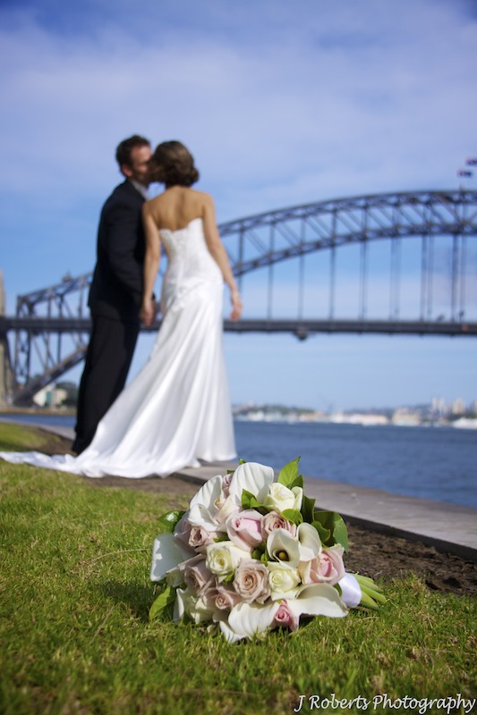 Bridal bouquet and couple - wedding photography