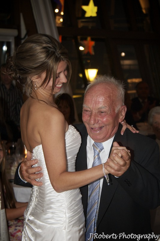 Bride and grandfather dancing - wedding photography