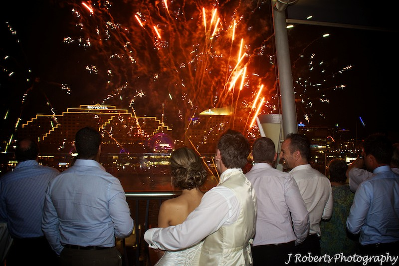 Bride and groom w fireworks - wedding photography