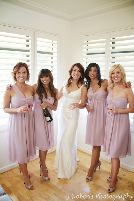 Bride with her bridesmaids - wedding photography sydney