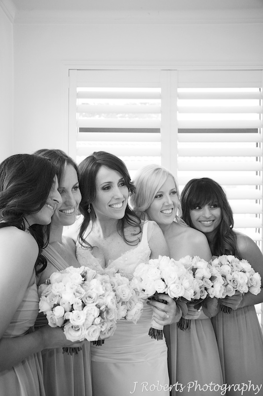 B&W of bride with bridesmaids - wedding photography sydney