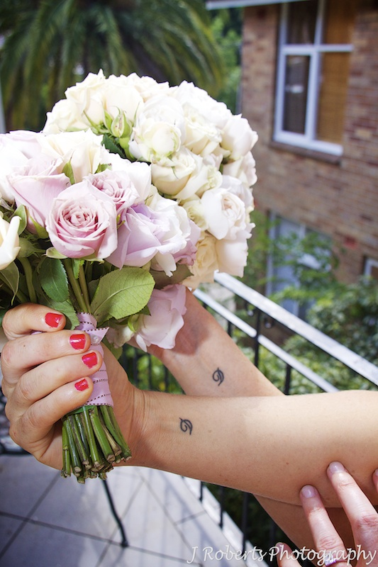 Bride and her sisters mother's initial tattoos - wedding photography sydney
