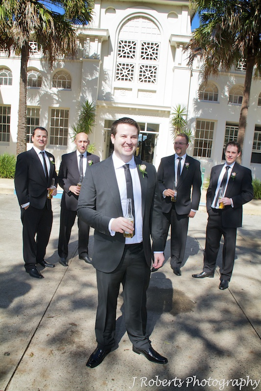 Groom and his groomsmen outside Bathers Pavilion Balmoral - wedding photography sydney