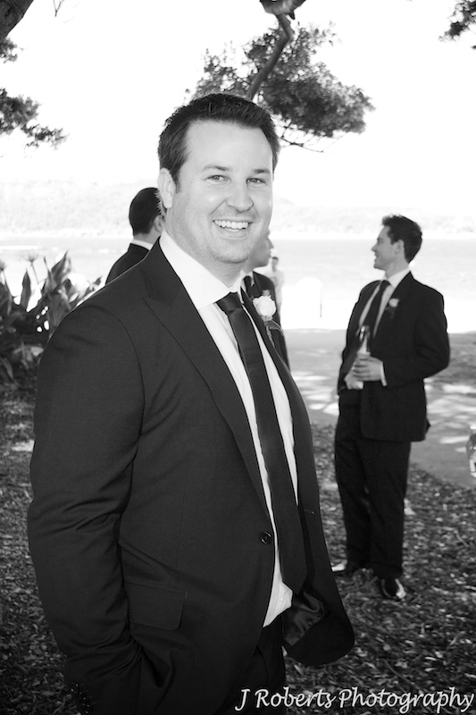 B&W of groom at Balmoral beach - wedding photography sydney