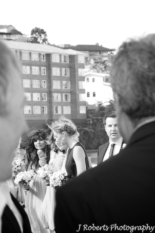 Groom seeing bride for the first time - wedding photography sydney