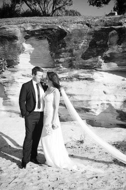 Bride and groom alongside the island at Balmoral - wedding photography sydney