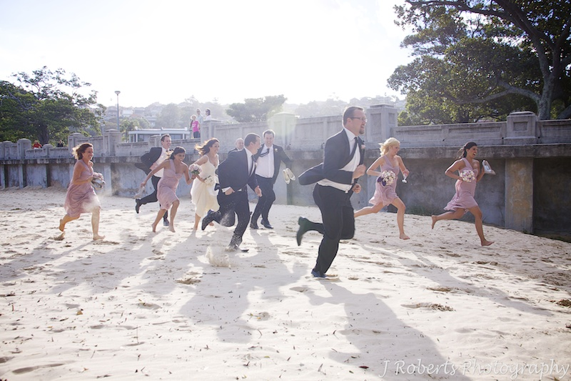 Racing bridal party - wedding photography sydney