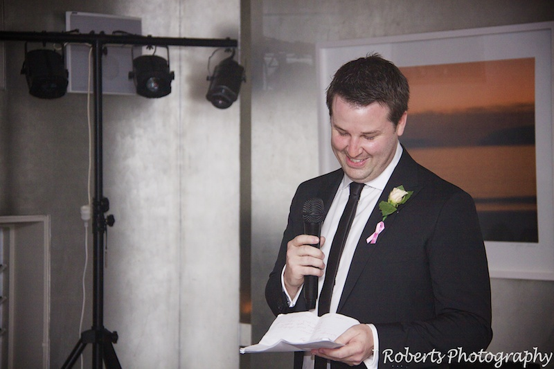 Groom making wedding speech - wedding photography sydney