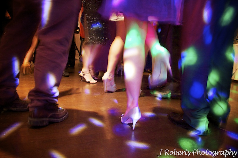Feet moving on the dance floor - wedding photography sydney