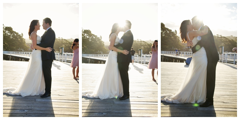 Tritik of bride and groom kissing in front of sunset - wedding photography sydney