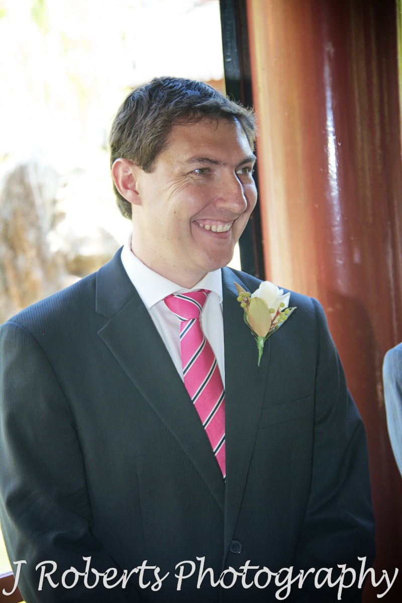 Groom excited to see his bride - wedding photography sydney