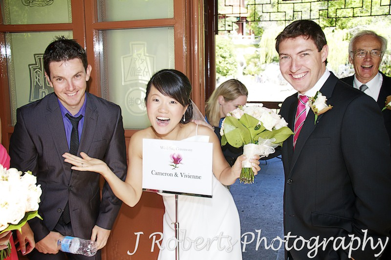 Welcome sign for ceremony at chinese gardens sydney - wedding photography sydney