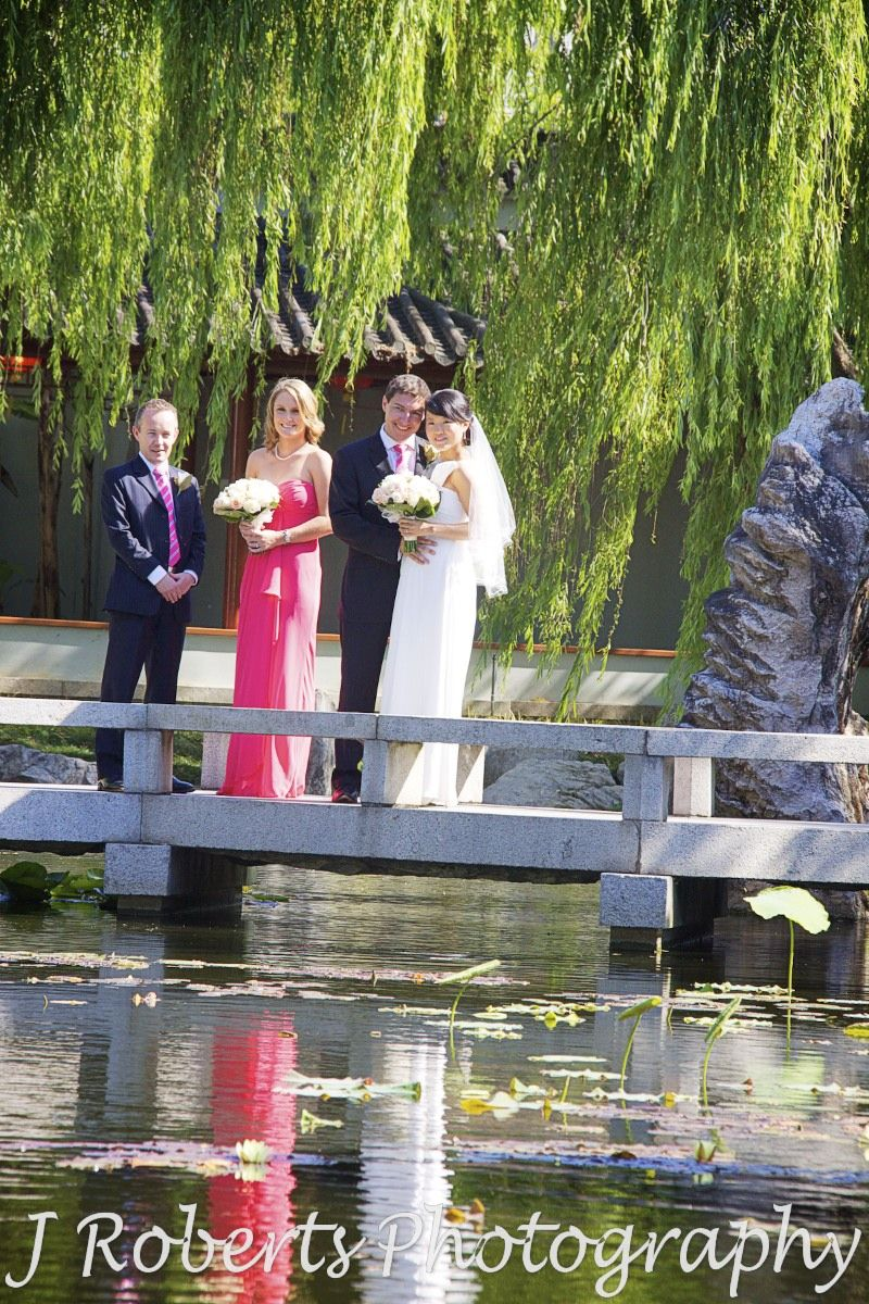 Bridal party of four in the chinese gardens - wedding photography sydney