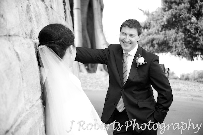 Groom smiling at bride - wedding photography sydney