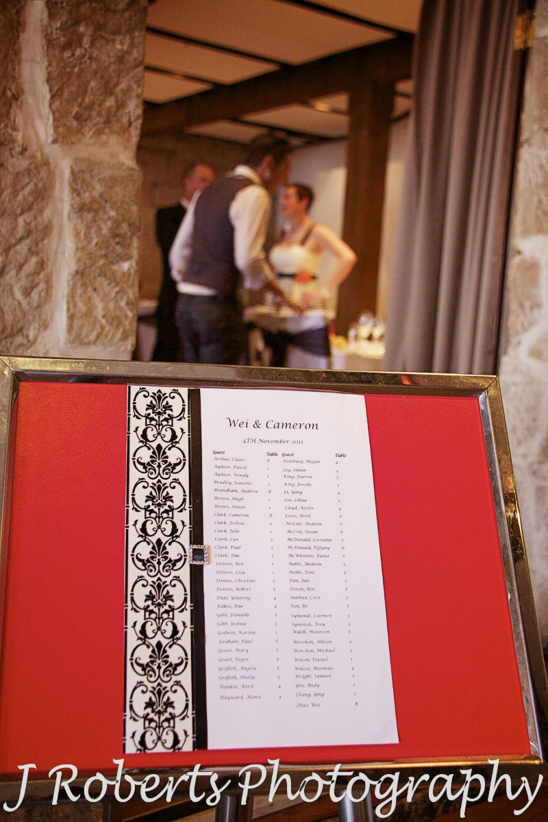 Table seating board at Wolfies The Rocks - wedding photography sydney