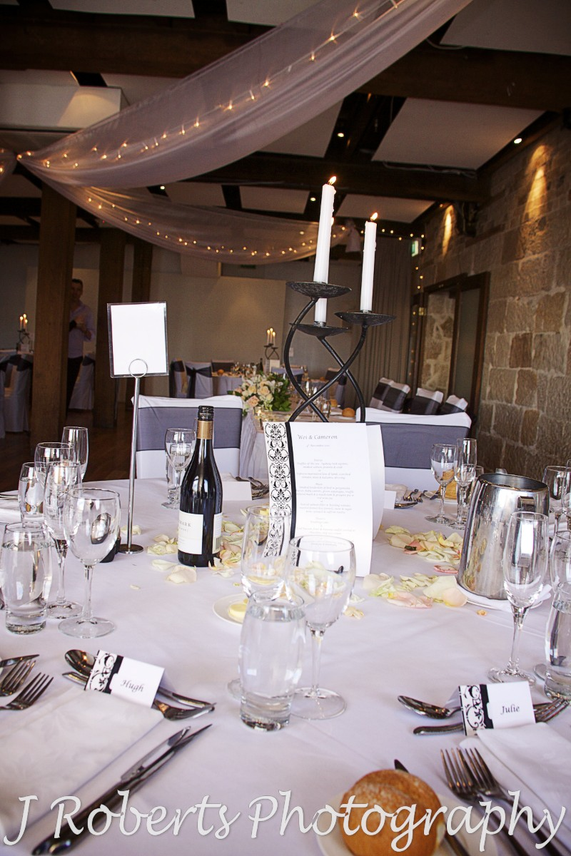 Table centres and room set up Wolfies Grill Sydney - wedding photography sydney