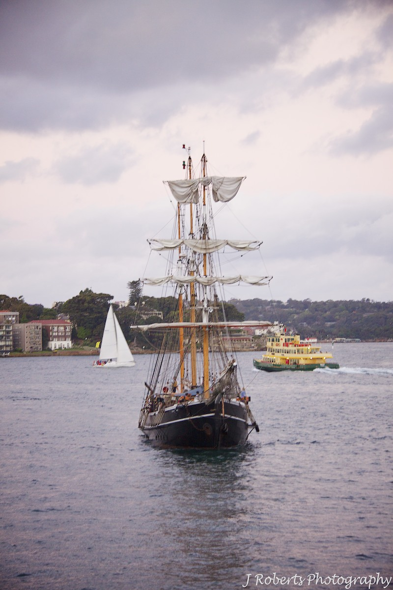 Tall ship on sydney harbour from the windows of wolfies grill the rocks sydney - wedding photography sydney