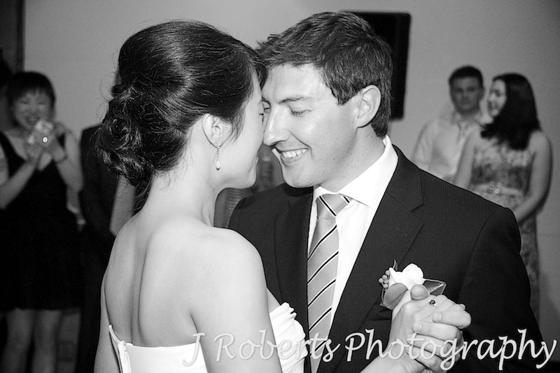 B&W f bride and groom dancing - wedding photography sydney