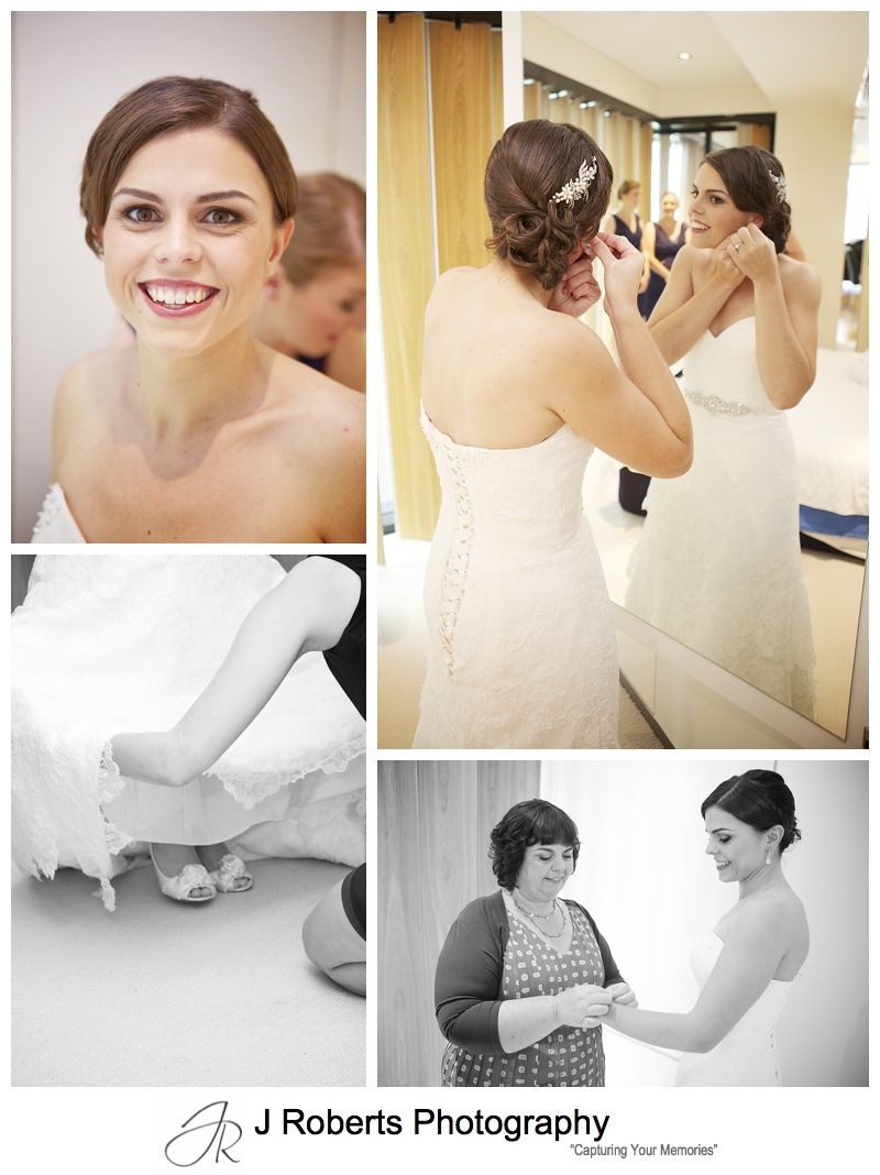 Bride getting ready in her wedding dress - sydney wedding photography