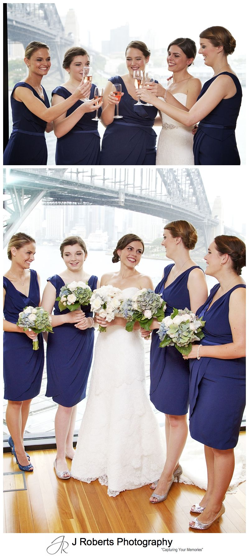 Bride celebrating with bridesmaids in blue - sydney wedding photography