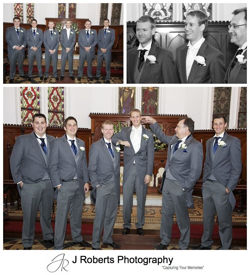 Groom with groomsmen pre wedding at Christ Church Lavender bay - sydney wedding photography