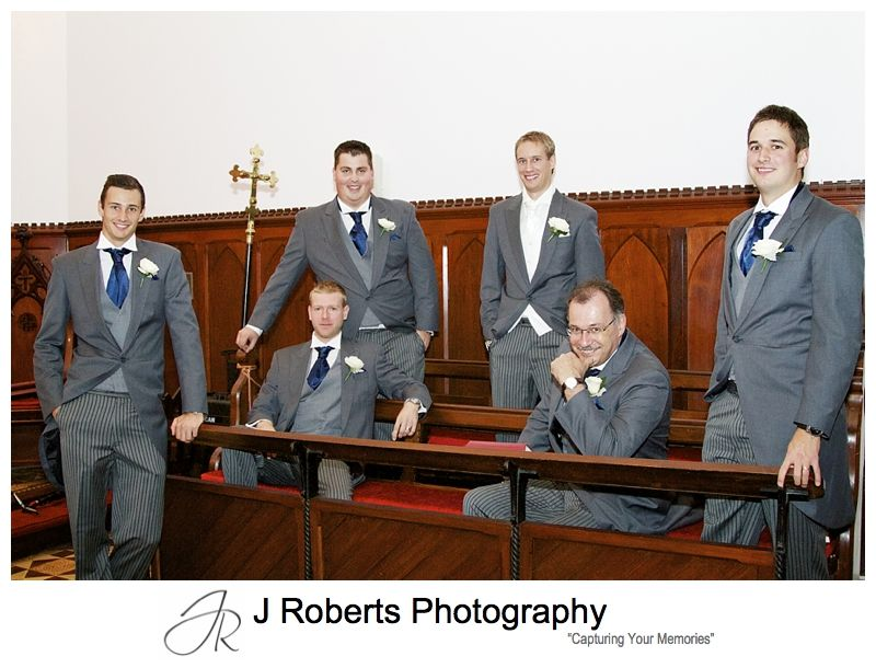Groomsmen being serious pre wedding - sydney wedding photography