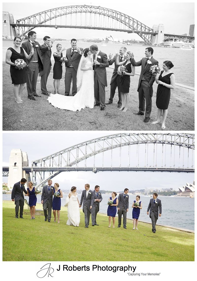 B&W portrait of bridal party at Blues Point Sydney Harbour - sydney wedding photography