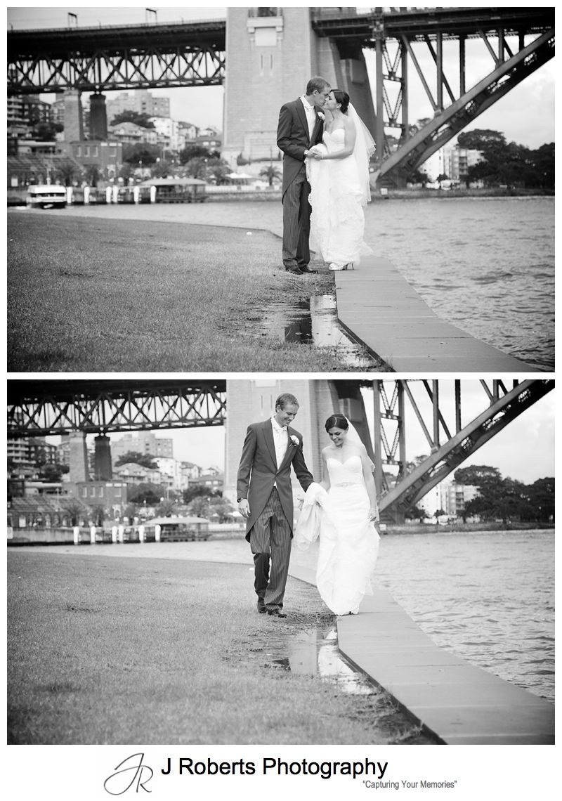 B&W portraits of bride and groom with puddles at blues point - sydney wedding photography
