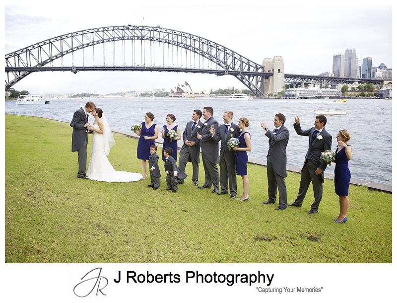 Celebrating a new marriage with bridal party on sydney harbour -Sydney wedding photography