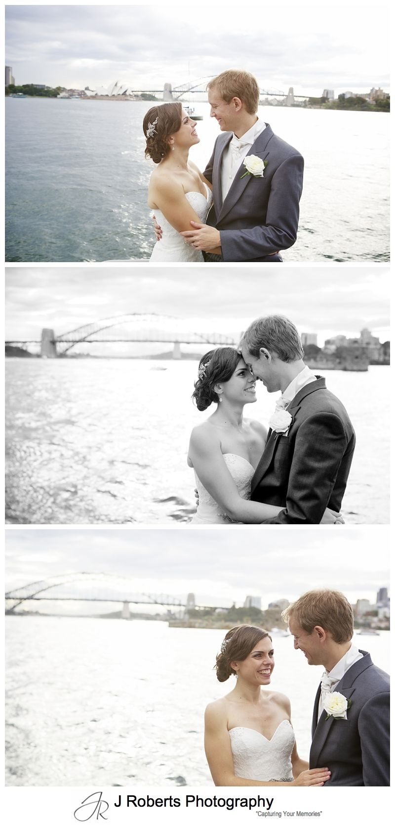 Bridal portraits on a harbour cruise sydney - sydney wedding photography