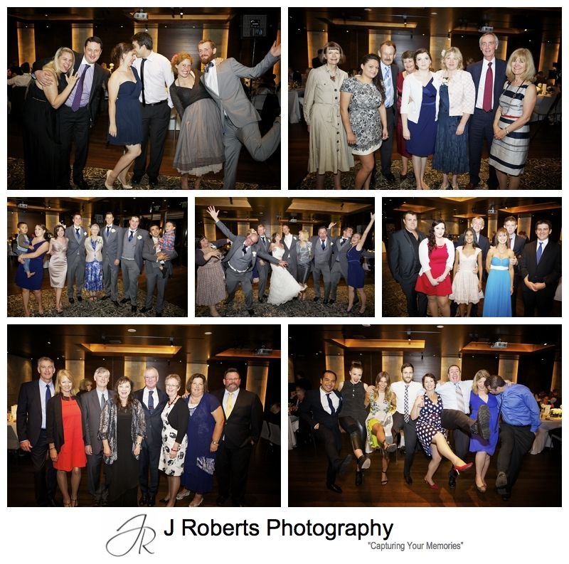 Group photos at wedding reception - sydney wedding photography
