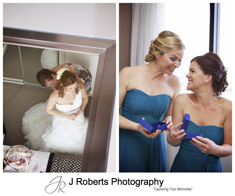 Brides presents to bridesmaids - wedding photography sydney
