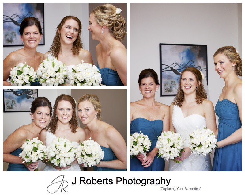 Bride with her bridesmaids in teal - wedding photography sydney