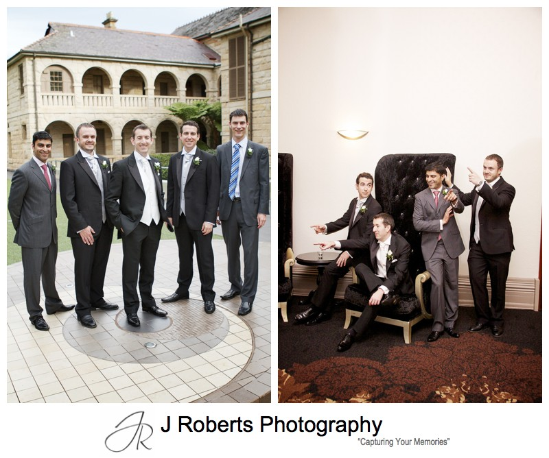 Groom with groomsmen at Curzon Hall - wedding photography sydney