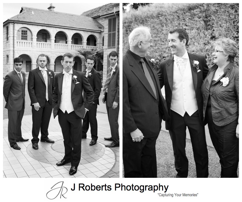 B&W portraits of the groom with family - wedding photography sydney