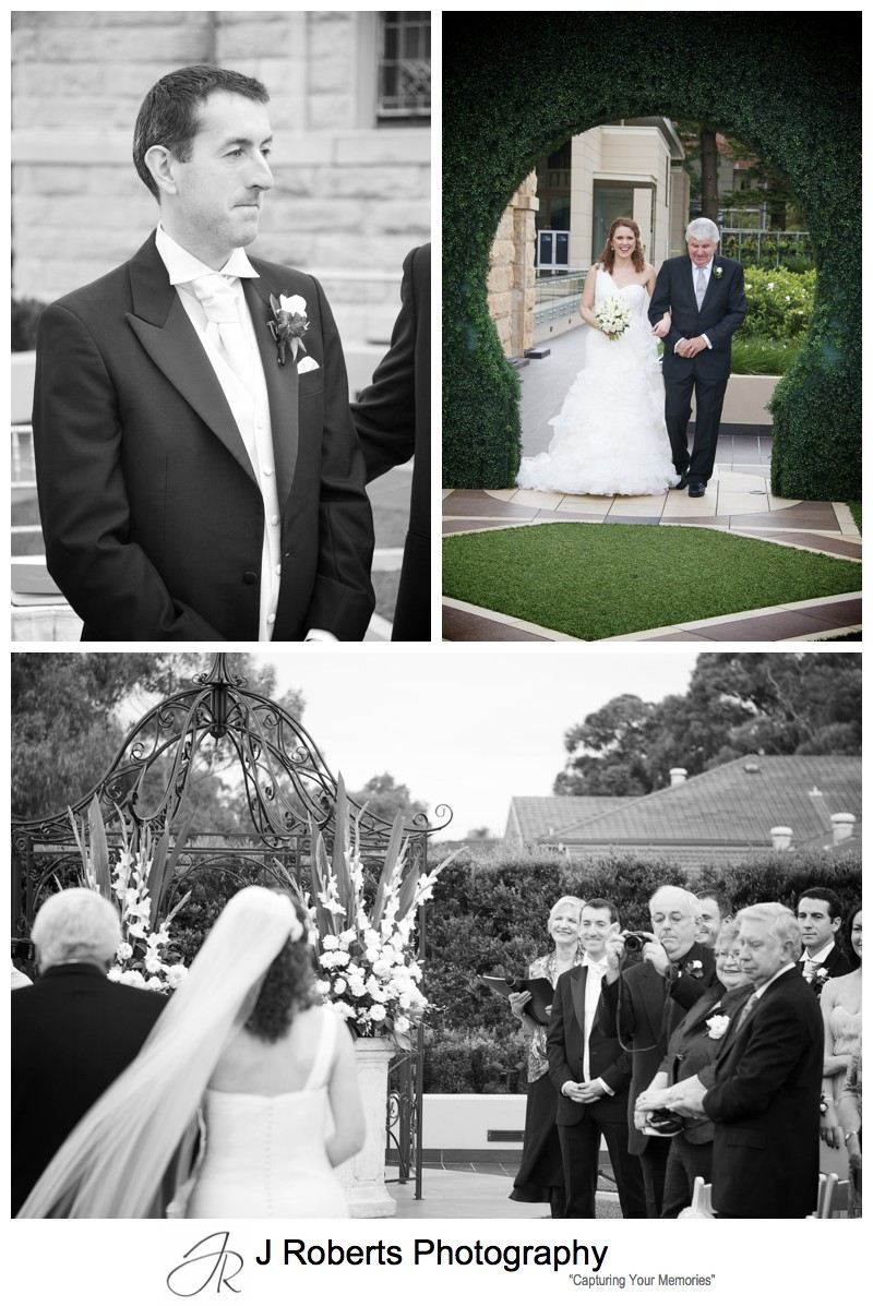 Groom watching bride walk down the aisle = wedding photography sydney