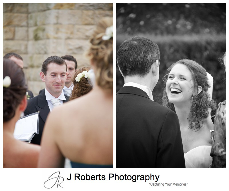 Bride and grooms reactions during wedding vows - wedding photography sydney