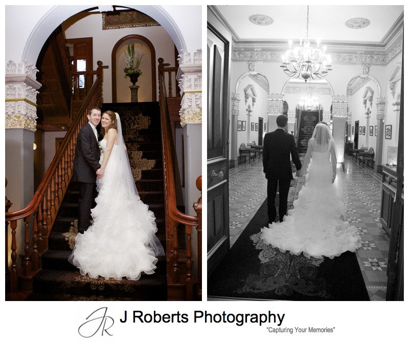 Portraits on the staircase at Curzon Hall - wedding photography sydney