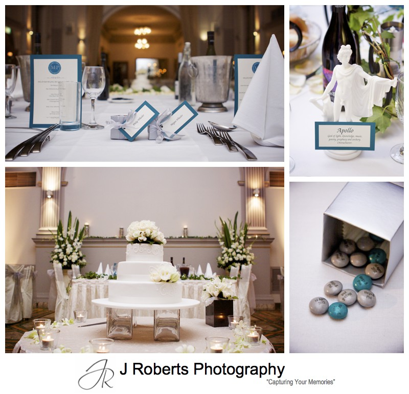 Wedding reception details at Curzon Hall - wedding photography sydney