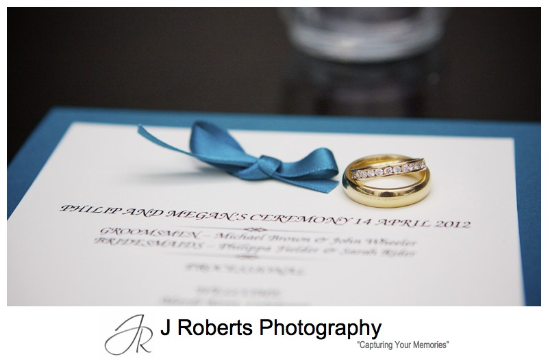 Wedding bands and order of service - wedding photography sydney