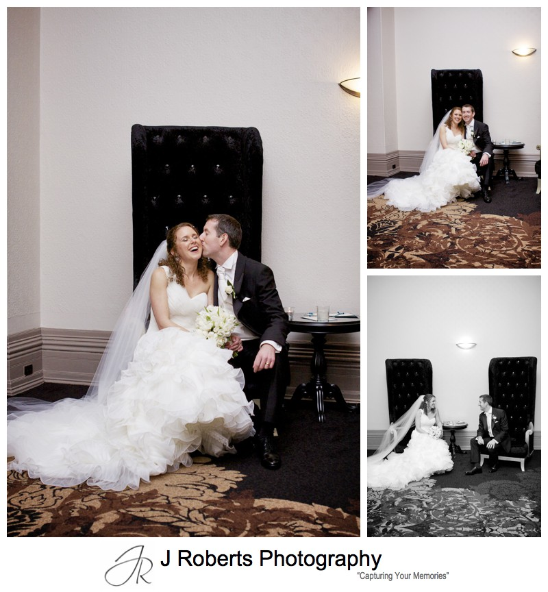 Bride and groom in grand chairs at Curzon Hall - wedding photography sydney