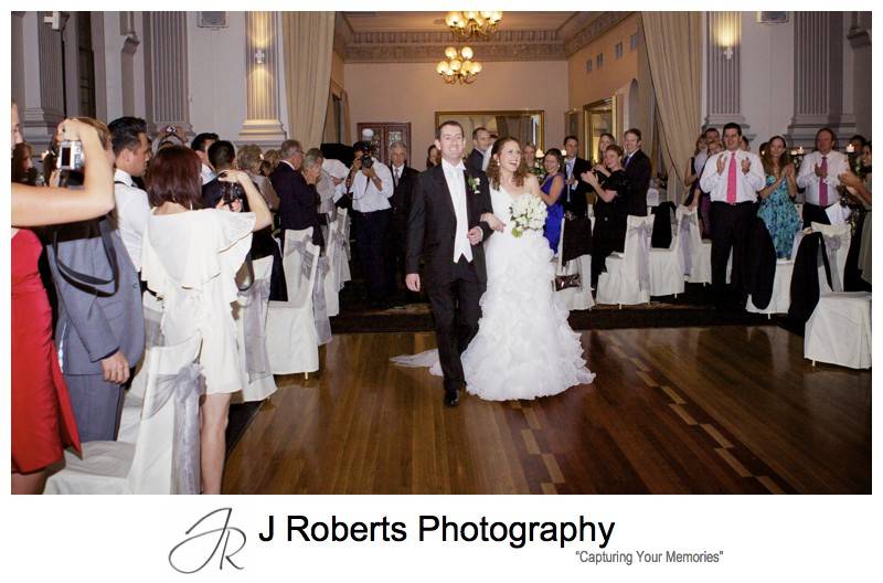 Bride and grooms entrance to reception - wedding photography sydney