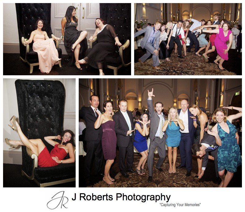 Guests having fun at wedding reception - wedding photography sydney