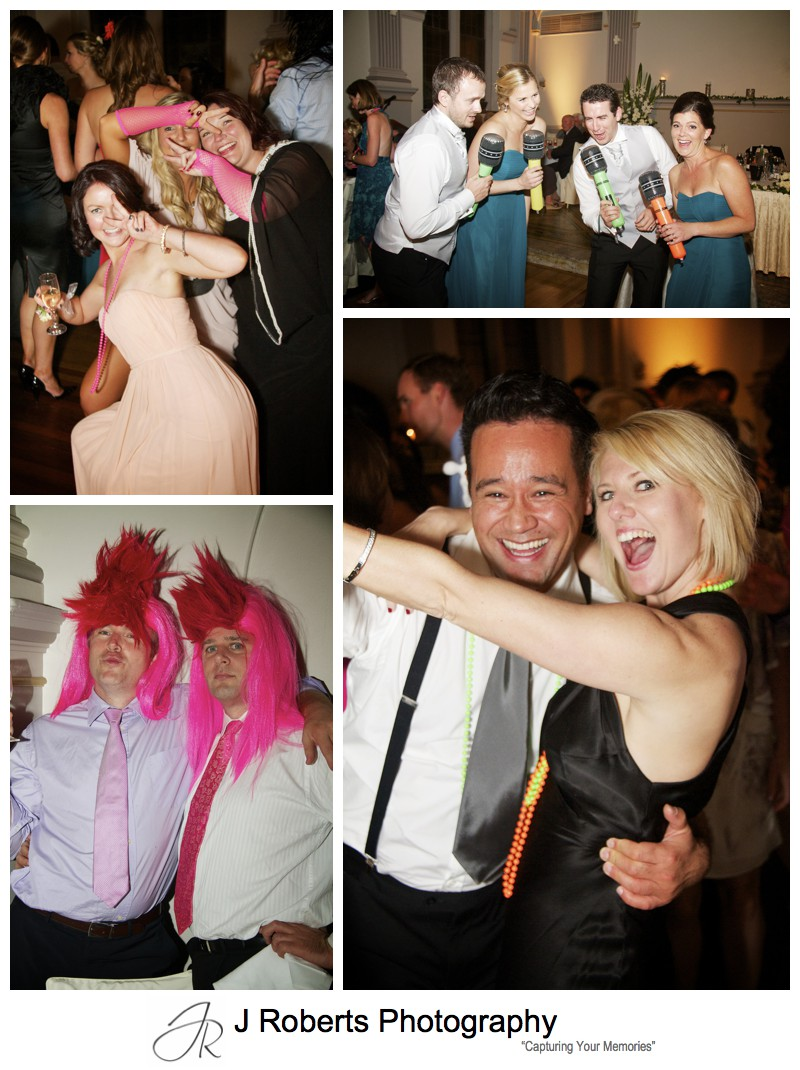 80s wigs and props on wedding dance floor - wedding photography sydney